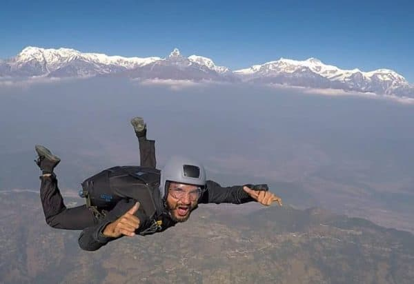 Harry nepal skydive Over the Himalayas pic