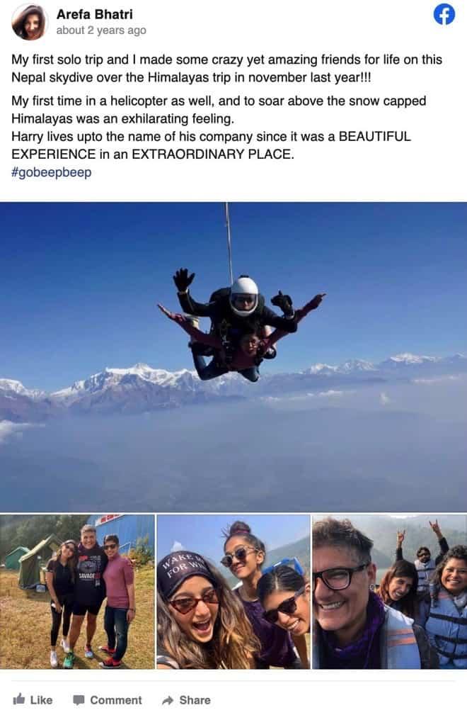 Gobeepbeep review Arefa Nepal Skydive Himalayas